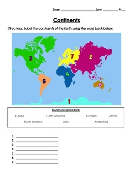 Continents and Oceans Homework