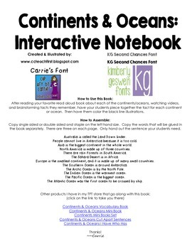 Continents and Oceans Interactive Notebook