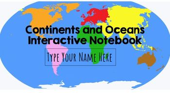 Continents and Oceans Interactive Notebook: Google Classroom