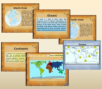 Continents and Oceans Interactive PowerPoint Game