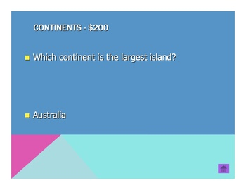 Continents and Oceans Jeopardy
