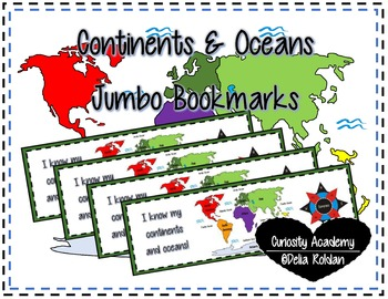 Continents and Oceans Jumbo Bookmarks