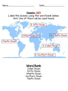 Continents and Oceans Labeling