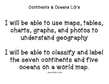 Continents and Oceans Learning Goals and Essential Questions