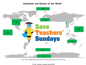 Continents and Oceans Lesson plan, Map, Quiz and Online games