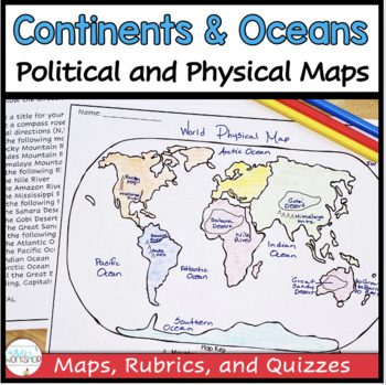 Continents and Oceans Map Activities