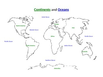 Continents and Oceans Map Labeling