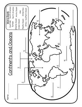 Continents and Oceans - Maps, Games and Activities