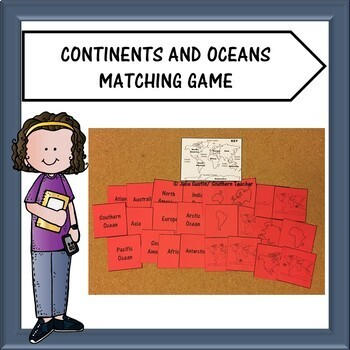 Continents and Oceans Matching Game
