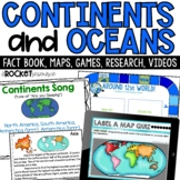 Continents and Oceans fact book, color, label, games