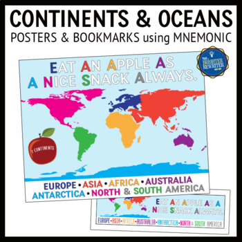 Continents and Oceans Mnemonics Posters