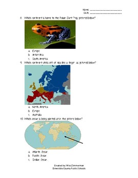 Continents and Oceans Multiple Choice
