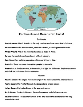 Continents and Oceans Packet 1 with Southern Ocean