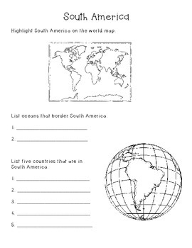 Continents and Oceans Packet