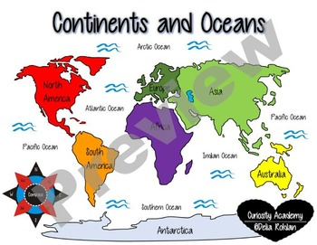 Continents and Oceans Poster