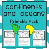 Continents and Oceans Printable Pack