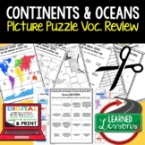 Continents and Oceans Picture Puzzle, Test Prep, Unit Revi