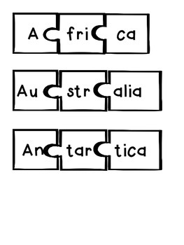 Continents and Oceans Puzzles