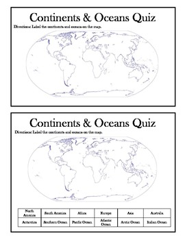 photo regarding Free Printable Continents and Oceans Quiz known as Continents and Oceans Quiz