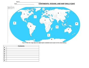 graphic regarding Continents and Oceans Quiz Printable titled Continent And Ocean Quiz Worksheets Education Products TpT