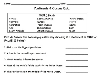 photograph regarding Continents and Oceans Quiz Printable titled Continents And Oceans Quiz Worksheets Training Products TpT