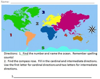 Continents and Oceans Quiz/Practice Sheet