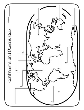 Continents and Oceans Quizzes