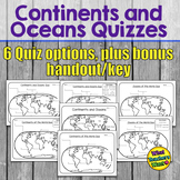 Continents and Oceans Quizzes Distance Learning