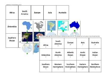 Continents and Oceans Review Sort - VA History SOL 3.5