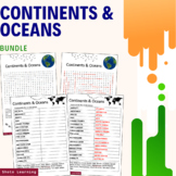 Continents and Oceans Science Activity - Bundle Scramble W
