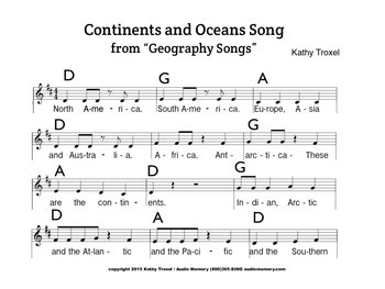 """Continents and Oceans Song Sheet Music from """"Geography Songs"""" by Kathy Troxel"""