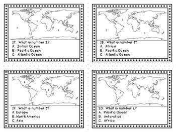 Continents and Oceans Task Cards