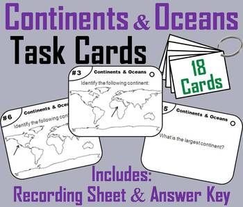 Continents and Oceans Task Cards (Geography (k-12) Map Skills Unit)