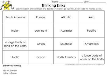 Continents and Oceans Thinking Links Activity - King Virtue's Classroom