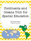 Continents and Oceans Unit for Special Education