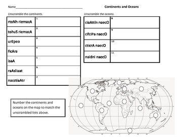 Continents and Oceans: Unscramble the Names and Label the Map