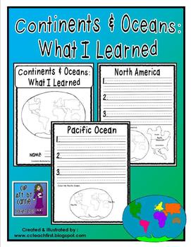 Continents and Oceans:  What I Learned Book