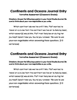 Continents and Oceans Writing Card