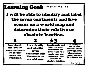 Continents and Oceans Learning Goal, Scale, and Essential Questions