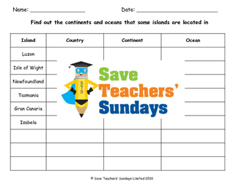 Continents and Oceans of Islands Lesson plan, Maps, Worksheets and Quiz