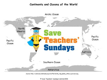 Continents and Oceans of Islands Lesson plan, Maps, Worksh
