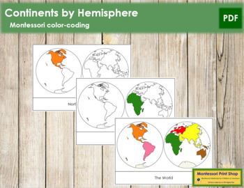 Continents by Hemisphere: 3-Part Cards