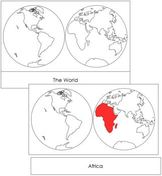 Continents by Hemisphere: 3-Part Cards (Red)