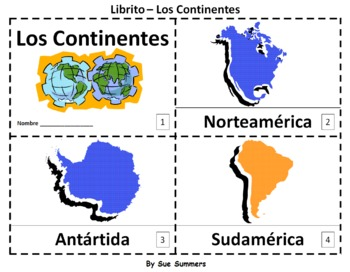 Continents in Spanish 2 Booklets - Los Continentes