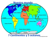 (Los continentes) Continents, oceans, equator and prime me