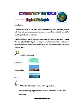 WATCH AND LEARN Continents of the World