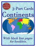 Continents of the World - Montessori 3-Part Cards