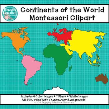 Continents of the World Montessori Clipart