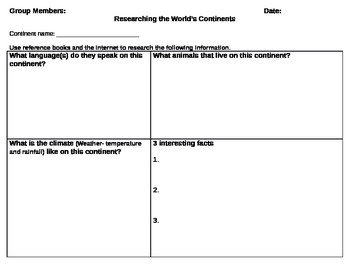 Continents of the World Research Graphic Organizer