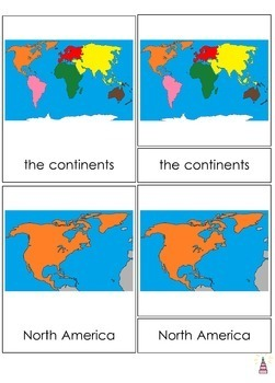 Continents of the world Montessori 3-part cards